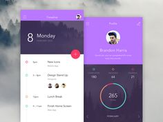 Mobile, app, colors, dark, dashboard, minimalism, typographic, type, bright, photo, violet