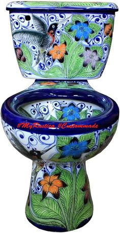 Rustica House is the best place to buy a Mexican Talavera Toilet and unique bathroom accessories. Consider online handcrafted plumbing fixtures and rustic home decor. Bar Mexicano, Cool Toilets, Home Interior Design, Interior Decorating, Toilet Art, Toilet Bowl, Deco Boheme, Mexican Designs, Beautiful Bathrooms
