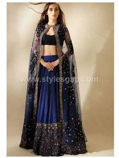 Royal Blue Lehenga Choli With Net Jacket For Reception Silk Lehenga, Bridal Lehenga, Indian Lehenga, Cape Lengha, Bridal Anarkali Suits, Indian Attire, Indian Wear, Indian Style, India Fashion
