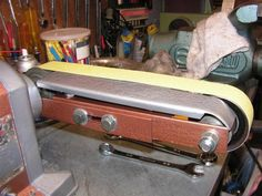 DIY Belt grinder attachment for your bench grinder -- Diy Belts, Bench Grinder, Knife Making, Blacksmithing, Craftsman, Projects To Try, Image, Iron, Construction