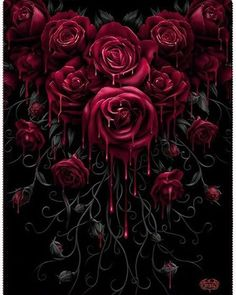 "A beautiful garland of gothic roses to keep you warm during the fall is available at the Inked Shop now. Order your ""Blood Rose"" Fleece Blanket from the link in the bio now. Gothic Wallpaper, Rose Wallpaper, Beautiful Dark Art, Beautiful Flowers, Red Rose Drawing, Bleeding Rose, Bleeding Hearts, Rose Blood, Gothic Fantasy Art"