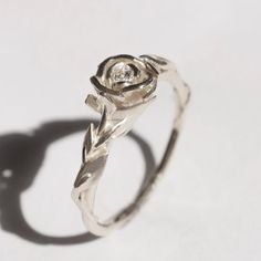 Rose Engagement Ring No.2 - 14K White Gold and Diamond engagement ring, engagement ring, leaf ring, flower ring, antique,art nouveau,vintage...