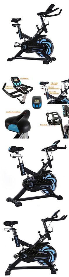 Indoor Spin Bike Cycle Trainer Cycling Bike with LCD Monitor and Shock Absorption (Black/Blue)