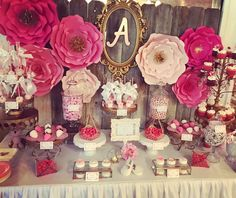 The dessert table and floral backdrop at this Flower and Gems Baby Shower is stunning!! See more party ideas and share yours at CatchMyParty.com #babyshower #paperflowers
