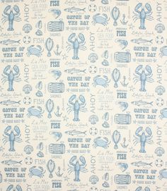 Seafood fabric is a fun, modern, printed cotton fabric available in 3 bold colourways. Great for kitchens or for a seaside theme.   http://www.justfabrics.co.uk/curtain-fabric-upholstery/blue-seafood-fabric/