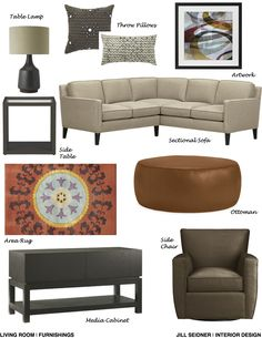 Falls Church, VA Online Design Project Living Room Furnishings Concept Board