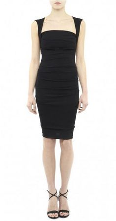 Black ponte v-neck stretch ruched long sleeve dress - Nicole ...