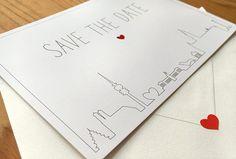 Individuelle Save the Date Karte. München in Love. Outline Skyline.
