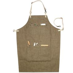 Denim Leather Work Aprons Barista Aprons Painting Apron Cooking Ap... ($40) ❤ liked on Polyvore featuring home, kitchen & dining, aprons, home textiles, kitchen & table linens, denim apron, leather apron and cooks aprons