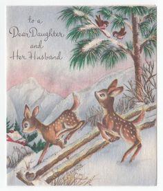 Vintage Greeting Card Christmas Cute Deer Snow Glitter Buzza Cardozo