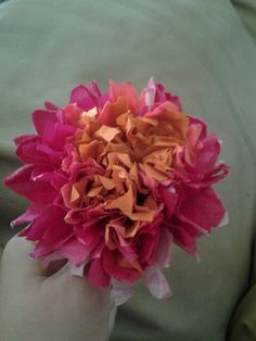 Pink and orange tissue paper flower <3