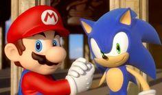 Mario and Sonic arm- wrestling in BIg Ben