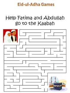 Eid-ul-Adha Game Eid Crafts, Ramadan Crafts, Ramadan Decorations, Ramadan Activities, Activities For Kids, Fest Des Fastenbrechens, Eid Party, Mazes For Kids, Islam For Kids