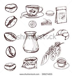 Stock Images similar to ID 319334441 - coffee beans coffee sketch . Coffee Love, Coffee Art, Hot Coffee, Iced Coffee, Coffee Drinks, Coffee Shop, Coffee Cups, Coffee Drawing, Starbucks Coffee