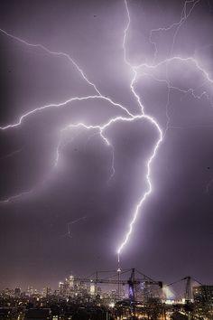 Giant Lightning Bolt hitting CN Tower by Richard Gottardo