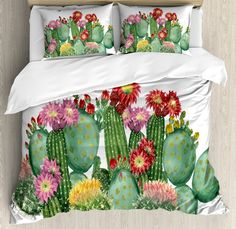 Cactus Saguaro Barrel Hedge Hog Prickly Pear Opuntia Tropical Botany Garden Plants Duvet Set