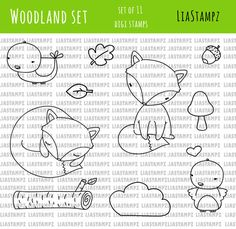 Digital stamp -Woodland set .fox clip art digital stamp. bird stamp.log stamp. LiaStampz