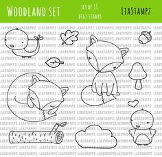 Digital stamp -Woodland set .fox clip art digital stamp. bird stamp.log stamp. LiaStampz