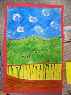 Farmland by  Laugh, Paint, Create!  You will need:   -White paper   -Tempera paints/brushes   -Q-tips   -Cotton balls   -Construction paper   -Scissors   -Glue stick