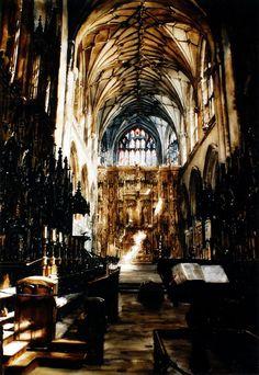 Paul Dmoch · Le Choeur, Cathédrale de Winchester 115 x 89