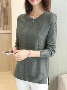 2018 Autumn Winter Women Casual Oversized Sweater Female O-neck Long-sleeve Loose Solid Color Sweater Pullover Plus Size - women's top - Womens Clothing Stores, Clothes For Women, Costura Fashion, Cardigan, Fashion Sewing, Occasion Wear, Casual T Shirts, Elegant, Plus Size Women