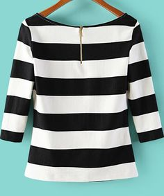 Black White Striped Scoop Neck T-Shirt pictures