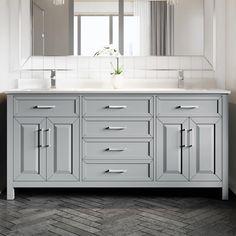 Terrence 72 in. W x 22 in. D Bath Vanity in Gray ENGRD Stone Vanity Top in White with White Basin Power Bar-Organizer 72 Inch Bathroom Vanity, 72 Inch Vanity, Gray Vanity, Double Sink Bathroom, Double Sink Vanity, Master Bathroom, Lake Bathroom, Engineered Stone Countertops