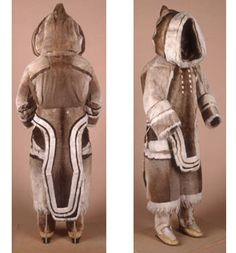 Inuit woman's winter suit, pre-1927  from Baffin Island, Nunavut  caribou fur, seal fur, sinew  from National Museums Liverpool
