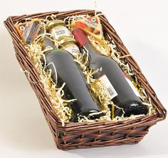 STAINED WILLOW TRAY BASKET - PERFECT FOR 2 BOTTLES OF WINE