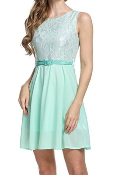 Fanala Women Sleeveless Lace Chiffon Slim Fit Cocktail Party Dress w Belt * For more information, visit image link.