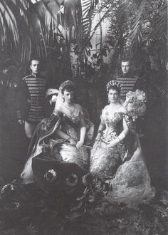 The Coronation Ball 1896. Grand Duchess Marie Pavlovna and Grand Duchess Anastasia ( both born German princesses) and their Pages. Marie Pavlovna was a powerful figure at Court. She took over a number of the Tsarina's public duties when strain and ill-health caused the latter to withdraw. The Grand Duchess's Page probably took good care to keep the right side of her.