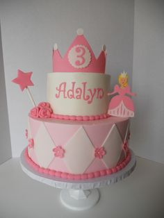 Princess Cake/ simple pink cake, decorate with princesses