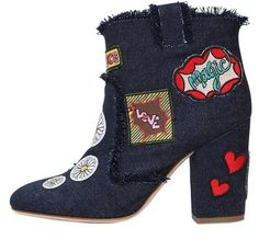 Laurence Dacade - 95mm Patches Denim Ankle Boots