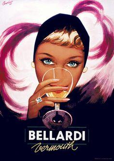 Vintage Poster - Bellardi Vermouth - Alcohol - Drink - Diamond - Showgirl