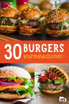 Unsere Gourmet-Burger-Rezepte - Ideas (i will organize this once school is over) - Hamburger Recipes, Meat Recipes, Gourmet Recipes, Handmade Burger, Easy Healthy Recipes, Easy Meals, Gourmet Burgers, 30 Burgers, Salmon Burgers
