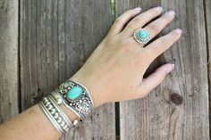 Stunning Tibetan silver ring howlite cabochon turquoise stones Adjustable size Ethnic Vintage look Bohemian Upcycled