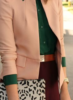 Autumn colour palette. Dark green, dusty pink and maroon.
