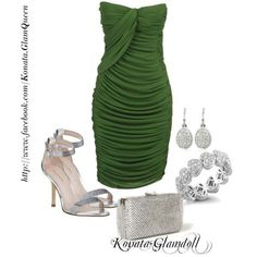Green evening dress with silver details - classy combo!