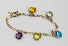 Silver Anklet - Citrine, Green Quartz, Blue Topaz, Lemon Quartz, Amethyst - Jewellery by GemsBcoLtd