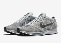 An official look at the Nike Flyknti Racer Pure Platinum that will release on October 14, 2016 for $150.