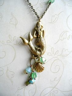 Mermaid necklace long brass chain sea shell charm by botanicalbird