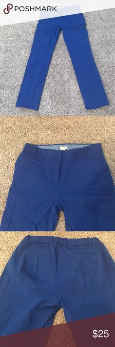 J.Crew Royal Blue Dress Pants J. Crew Stretch Royal Blue Dress Pants. 2 front hidden pockets and 2 back hidden pockets. Hidden Double Eye Closure with inside Button.  Back of Pants has a cool center stitch for more structure.  Worn once.  Line Dry, needs to be steamed. J.Crew Pants Trousers