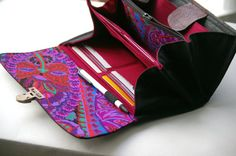 Smartphone wallet clutch - deluxe edition  - in black and purples  - MADE TO ORDER