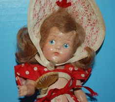 EARLY VOGUE PAINTED EYE GINNY - WEARING 1952 BEACH OUTFIT with RARE FAN!!!