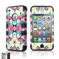 New Hybrid Rugged Rubber Matte Hard Case Cover For iPhone 4G 4S w/ Screen Guard