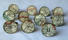 Initial-Letter-Shabby-Chic-Cufflinks-made-with-Vintage-English-Road-Maps