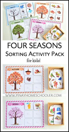 Fun and beautiful four seasons sorting activity for kids #preschool #homeschool #activities #teacherspayteachers #printables #science #seasons #winter #spring #fall #summer