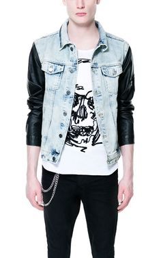 LOVE THIS - COMBINATION BLEACHED DENIM JACKET - Jackets - Man | ZARA Norway