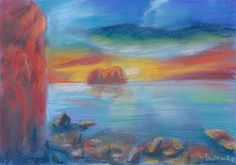 The bright saturated colors of the sea landscape among the rocks create a sense of something unreal, unearthly. The painting will decorate any interior and will cheer you up.  Size: 30 х 21 cm. The picture drawn with pastels on pastel paper.