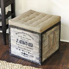 DIY French Burlap Storage Ottoman- this picture is the store version- she made a cute one on rollers. Coffee sack burlap would be a little too fuzzy for this so we'd have to buy burlap on a roll.
